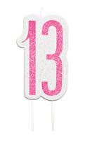 Pink Glitz 13th Birthday Glitter Candle