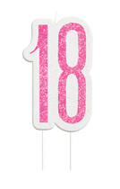 Pink Glitz 18th Birthday Glitter Candle