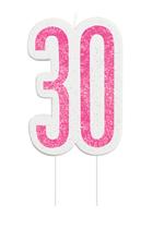 Pink Glitz 30th Birthday Glitter Candle