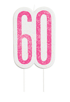 Pink Glitz 60th Birthday Glitter Candle