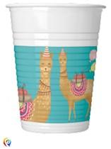 Llama Party 200ml Plastic Cups 8pk