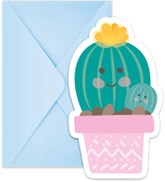 Cactus Party Invitations and Envelopes 6pk