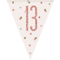 Rose Gold Glitz 13th Birthday Prismatic Plastic Flag Banner
