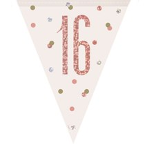 Rose Gold Glitz 16th Birthday Prismatic Plastic Flag Banner