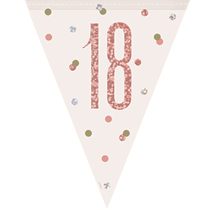 Rose Gold Glitz 18th Birthday Prismatic Plastic Flag Banner