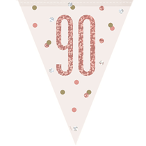 Rose Gold Glitz 90th Birthday Prismatic Plastic Flag Banner