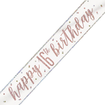 Rose Gold Glitz Happy 16th Birthday Foil Banner