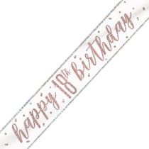 Rose Gold Glitz Happy 18th Birthday Foil Banner