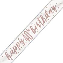 Rose Gold Glitz Happy 40th Birthday Foil Banner