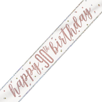 Rose Gold Glitz Happy 90th Birthday Foil Banner