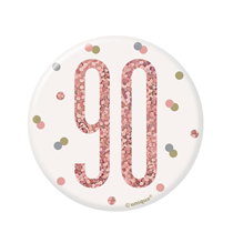 "Rose Gold Glitz 90th Birthday 3"" Badge"
