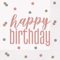 Rose Gold Glitz Happy Birthday Lunch Napkins 16pk