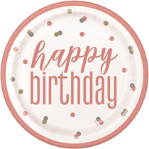 "Rose Gold Glitz Happy Birthday 9"" Paper Plates 8pk"