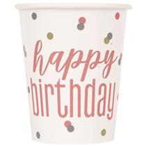 Rose Gold Glitz Happy Birthday Paper Cups 8pk