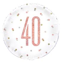 "Rose Gold Glitz 40th Birthday 18"" Foil Balloon"