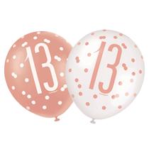 "Rose Gold Glitz & White 13th Birthday 12"" Latex Balloons 6pk"
