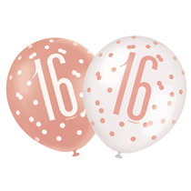 "Rose Gold Glitz & White 16th Birthday 12"" Latex Balloons 6pk"