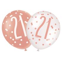 "Rose Gold Glitz & White 21st Birthday 12"" Latex Balloons 6pk"