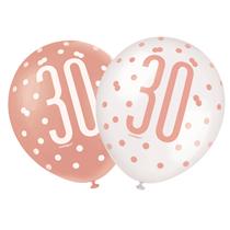 "Rose Gold Glitz & White 30th Birthday 12"" Latex Balloons 6pk"