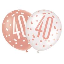"Rose Gold Glitz & White 40th Birthday 12"" Latex Balloons 6pk"