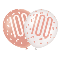 "Rose Gold Glitz & White 100th Birthday 12"" Latex Balloons 6pk"