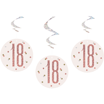 Rose Gold Glitz 18th Birthday Hanging Swirl Decorations 6pk