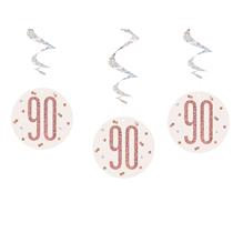 Rose Gold Glitz 90th Birthday Hanging Swirl Decorations 6pk