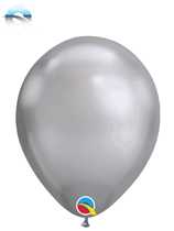 "Qualatex Chrome 7"" Silver Latex Balloons 100pk"