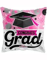 """Pink Congrats Grad 18"""" Square Foil Balloon"""