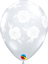 "Diamond Clear Roses 11"" Latex Balloons 25pk"