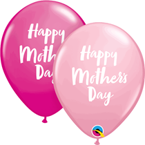 "Mother's Day Script Pink & Berry 11"" Latex Balloons 25pk"