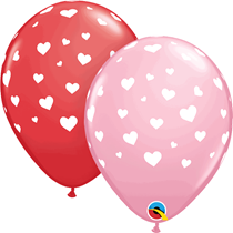 """Hearts Around 11"""" Red & Pink Latex Balloons 25pk"""