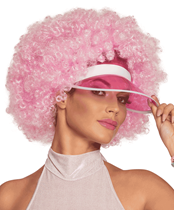 Adults Afro Wig With Sun Visor - Pink