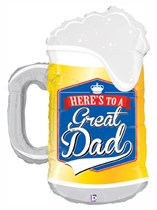 "Here's to a Great Dad 34"" Beer Mug Supershape Balloon"