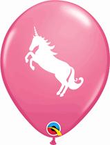 "Rose Latex With White Unicorn 11"" Latex Balloons 6pk"