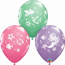 "Mermaid & Friends Assorted 11"" Latex Balloons 6pk"