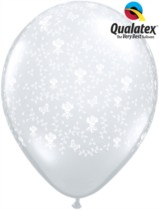 "11"" Diamond Clear Flowers Latex Balloons 50pk"