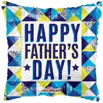 "Happy Father's Day Geometric 18"" Square Foil Balloon"