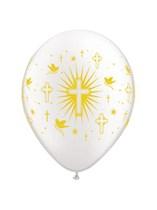 """Pearl White Doves & Cross 11"""" Latex Balloons 50pk"""