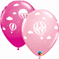 "Pink Hot Air Balloon Clouds 11"" Latex Balloons 25pk"