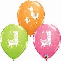 "Orange, Green & Rose Llama 11"" Latex Balloons 25pk"