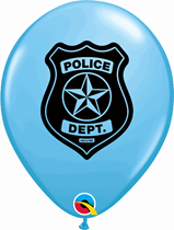 "Pale Blue Police Car & Badge 11"" Latex Balloons 25pk"
