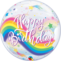 "Happy Birthday Rainbow Unicorn 22"" Bubble Balloon"