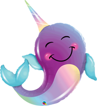 """Smiling Purple Narwhal 40"""" Foil Balloon"""