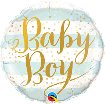 "Baby Boy Blue Stripes 18"" Foil Balloon"