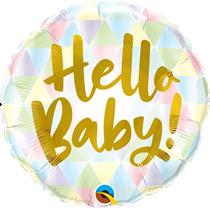 """Gold Script Hello Baby 18"""" Foil Balloon"""