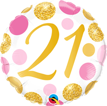 """Pink & Gold Dots 21st Birthday 18"""" Foil Balloon"""