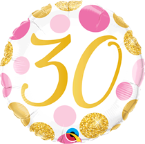"""Pink & Gold Dots 30th Birthday 18"""" Foil Balloon"""