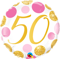 """Pink & Gold Dots 50th Birthday 18"""" Foil Balloon"""