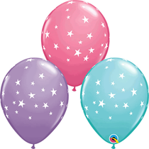 White Stars Assorted Colour Latex Balloons 25pk